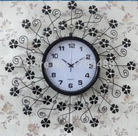 decorative clock wall clock - 2015 new Pastoral technology watch iron clock decorative wall clock European wrought iron clock wall clock