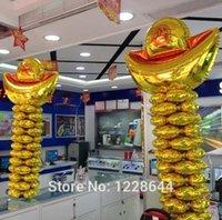 aluminium ingots - Store decoration Promotional Gold ingot foil balloons Start business celebration New year Giant size cm