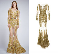 Wholesale Long Sleeves Zuhair Murad Evening Dresses Sexy Backless Gold Nude Designer Couture Pageant Prom Dresses Luxury Formal Dresses