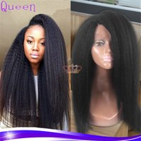 kinky straight full lace wigs - 2015 Soft Unprocessed Brazilian virgin human hair Italian kinky yaki full lace wigs glueless kinky straight lace front wigs for black women