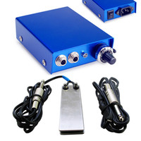 Wholesale New Mini Aluminium Alloy Tattoo Power Supply Turns With Foot Pedal clip cord for Machine Gun Kit U pick Color