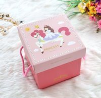 Wholesale Pink princess gift box blue prince cartoon candy packing storage boxes CM Party goods supplies