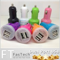 Wholesale For Iphone Charger Mini Micro Dual USB Car Charger Adapter Flash Nipple Dual USB Port For iPhone S6 note4 Ipad Samsung HTC