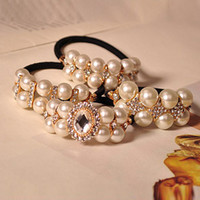 Wholesale price Hair Ring Style Hair Rubber Bands Pearls High Grade Ladies Accessories Hair Jewelry WWL