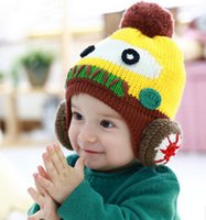 Cheap New Baby Kids Infant Winter Warm lovely Knit Hat Cartoon Robot Beanie Earflaps Cap Unisex Cute Woolen Warm Cap