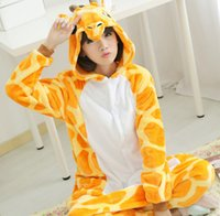 giraffe print - Adult Onesie Flannel Giraffe Pajamas Pyjamas Jumpsuit Cosplay Costume Cartoon Animal Sleepwears Design For Toilet