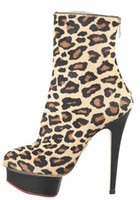 ladies leather boots - Leopard Ankle Boots For Women Mohair Thin High Stiletto Heel Shoes Pointed Toes Australian Boots Platform Ladies Leather Boots Back Zip