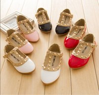 Wholesale Spring Summer and Autumn PU leather princess shoes female girl sandals cutout fashion single shoes breathable rivet boat shoes