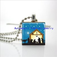animal nativity - 2015 New Scrabble Game Tile Jewelry Nativity Scene Necklace Christmas Jewelry Scrabble Tile Pendant E