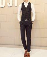 Wholesale Mens Suits Top Design Business Fitted Wedding Dress Blazers Pants Vest Black M XL