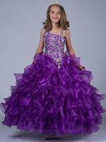 Wholesale Purple latest fashion sequins fold cascading to the big floor length skirt condole pageant dress flower girl dress
