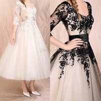 cheap prom dresses - 2015 Hot Sale Black Prom Dresses Elegant Sheer Iluusion Short Sleeve A Line Evening Gowns Cheap Ivory Party Queen Dress Applique Knee Length