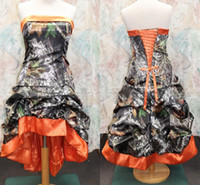 designer plus size - Gothic Knee length Orange Camo Wedding Dresses New Designer Strapless A line Custom Made Plus Size High Low Wedding Dress Bridal Gowns