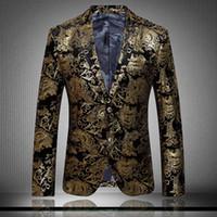 Wholesale 2016 gold blazer for men high grade velvet personality patterns suit fashion simple printing men s blazer singers star performance clothing