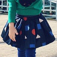 cair garota saia fábrica direta duas cores geométricas saia nova Natal crianças #039; s roupas bem com estilo