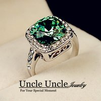 Wholesale Solitaire Emerald Rings - 18K White Gold Plated Royal Design Austrian Crystal Square Green Emerald Lady Finger Ring Wholesale 18krgp