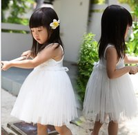 wedding dresses lot - 5 Summer Kids Baby Child Girl Sleeveless Princess Fancy Wedding White Flower Rose Lace Gauze Yarn Tutu Ball Gown Dress H0140949