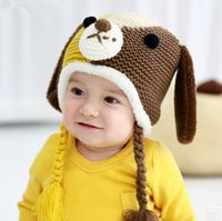 Boy Winter Crochet Hats New Baby Boys Girls Kids Cute Dog Contrast Color Knit Hat Beanie Caps Infant Winter Fleece Warm Hat