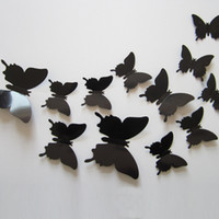 Wholesale Wall Stickers Wonderful Art Design Decal Wall Sticker Home Decor Black blue red yellow Room Decorations D Butterfly wedding decor set