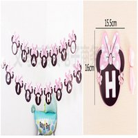 Wholesale Birthday Party Decor Items Cartoon Flags Hang Flag Festival Decoration For Children s Event Party Supplies Minnie Mouse