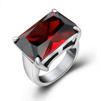 big girlfriend - Cast Big Red CZ Rings For Queen Women L Stainless Steel Ruby Jewelry Accessory Girlfriend Gift Size R304