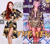 beyonce leotard - New DJ female singer Beyonce Beyonce atmospheric same paragraph three piece black leopard costume women s Stage Nightclub Dress