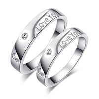 Wholesale Sterling Silver Crystal Wedding Rings For Men and Women Anti allergic Silver Many Heart Crystal Heart Couple Rings