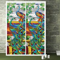 abstract stained glass - New Design Europen Style Peacock Glass Window Film Home Decorative Window Sticker Stained cm