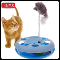 Wholesale Cat toy Amusement wheel cat game disk Roller ball turntable With Stretch Mouse pet play tool