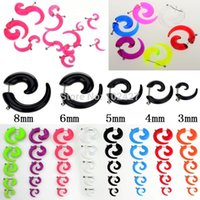 Wholesale Bulks Fake Spiral Taper Solid Transparent Acrylic Illusion Stud Ear Cheater Plug Expander Stretcher Piercings Body Jewelry