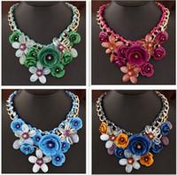 Wholesale Fashion Necklaces Transparent Big Resin Women Necklace Crystal Flower Vintage Choker Statement Necklace Fashion Jewelry
