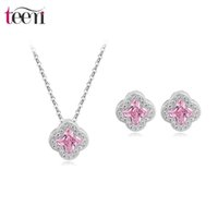Wholesale Teemi Micro Paved CZ Flower Jewelry Sets New Trendy Exquisite Design Wedding Bridal Love Gift Earrings Necklace For Women