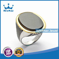 Wholesale Winmax New Fine Jewelry Natural Stone Agate Crystal Brand Men Rings Stainless Steel Wedding Vintage Rings