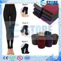 Wholesale Fleece Leggings Warm Winter Faux Velvet lined Legging Knitted Thick Slim Leggings Super Elastic pantyhose style wu
