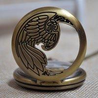 achat en gros de poche montre à quartz aigle-Mode rétro cadran doré Eagle Quartz Pocket Watch Collier Chaîne Pendentif Cadeaux Femmes Montre Cadeau A280