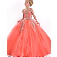 girls pageant dresses size 10 - rachel allan Beaded Tulle Floor Length Flower Crystal Halter Girls Pageant Gowns Glitz Pageant Dresses Size for Little Girls