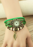 Wholesale 2015 New COLORS Vintage quartz watch women Watchs Wrap Tree leaf Pendant Synthetic Leather Bracelet Wrist Watch