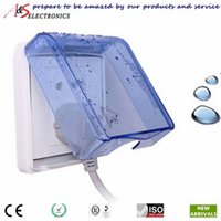 sockets and switches - High Quality Beautiful Design x86mm Square Shaped Wall Switch and socket Waterproof Cover Transparent Blue Color