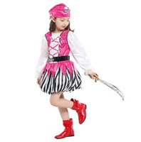 baby pirate party - Halloween Pirate Costume For Baby Girls Cute Striped Long Sleeves Dress With Pink Hood Halloween Cosplay Party Costume