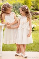 Cheap Charming Lace Applique Flower Girls' Dresses 2015 Lovely Bow Jewel Neckline Sleeveless Knee Length Tulle Kids Formal Gowns Made In China