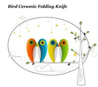 Wholesale In the autumn of ceramic knives yangjiang print LOGO parrot fruit knife The bird knife