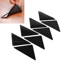 Wholesale 4Pcs Rug Carpet Mat Non Slip Skid Grippers Reusable Washable Silicone Grip Black