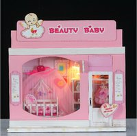 baby toy stores - Doll House Miniature Model Building Kits D Handmade Wooden Dollhouse Birstday Gift European Stores Beauty Baby