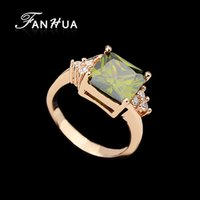 Wholesale 18K Rose Gold Plated Created Turquoise Olive Color Anel de pedra Femininos Big Wedding Rings For Women Weekend Deals