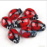Wholesale Fashion Red Ladybug Lampwork Glass Beads For Bracelet Making Craft Jewelry