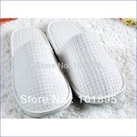 Wholesale Retail Luxury Waffle Fabric Spa Slipper White Color and Washable Slipper Pairs X14001
