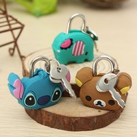 Cheap Cute Cartoon Doll Animal Mini Silicone Metal Padlock Anti-thief Security Lock With Key For Travel Luggage Small Suitcase