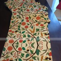 autumn table linens - YAZI Autumn Harvest Leaf Fruit Cotton Linen Rectangle Table Runner Cloth x180cm