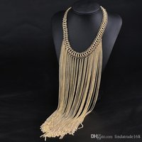 Wholesale fashion style tassel necklaces for women gold silver plated alloy chokers necklaces