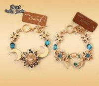 Wholesale European Vintage Women s Bracelet Moon Sun Decoration Blue Simulated Jade Beautiful Female Accessory
